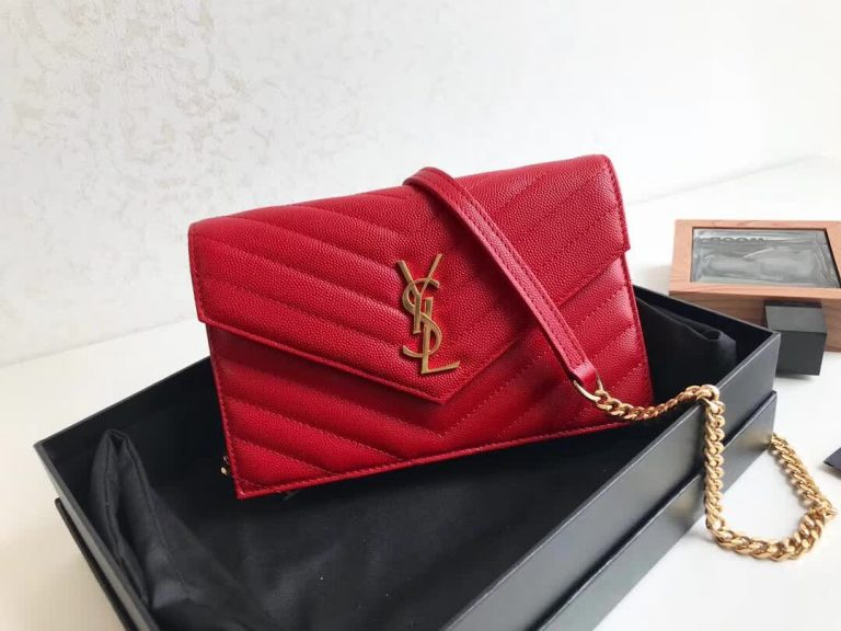 Saint Laurent Envelope Chain Wallet in Textured Matelasse Leather 393953 2018