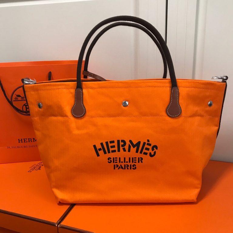 Hermes Vintage Cavalier Canvas Tote2018