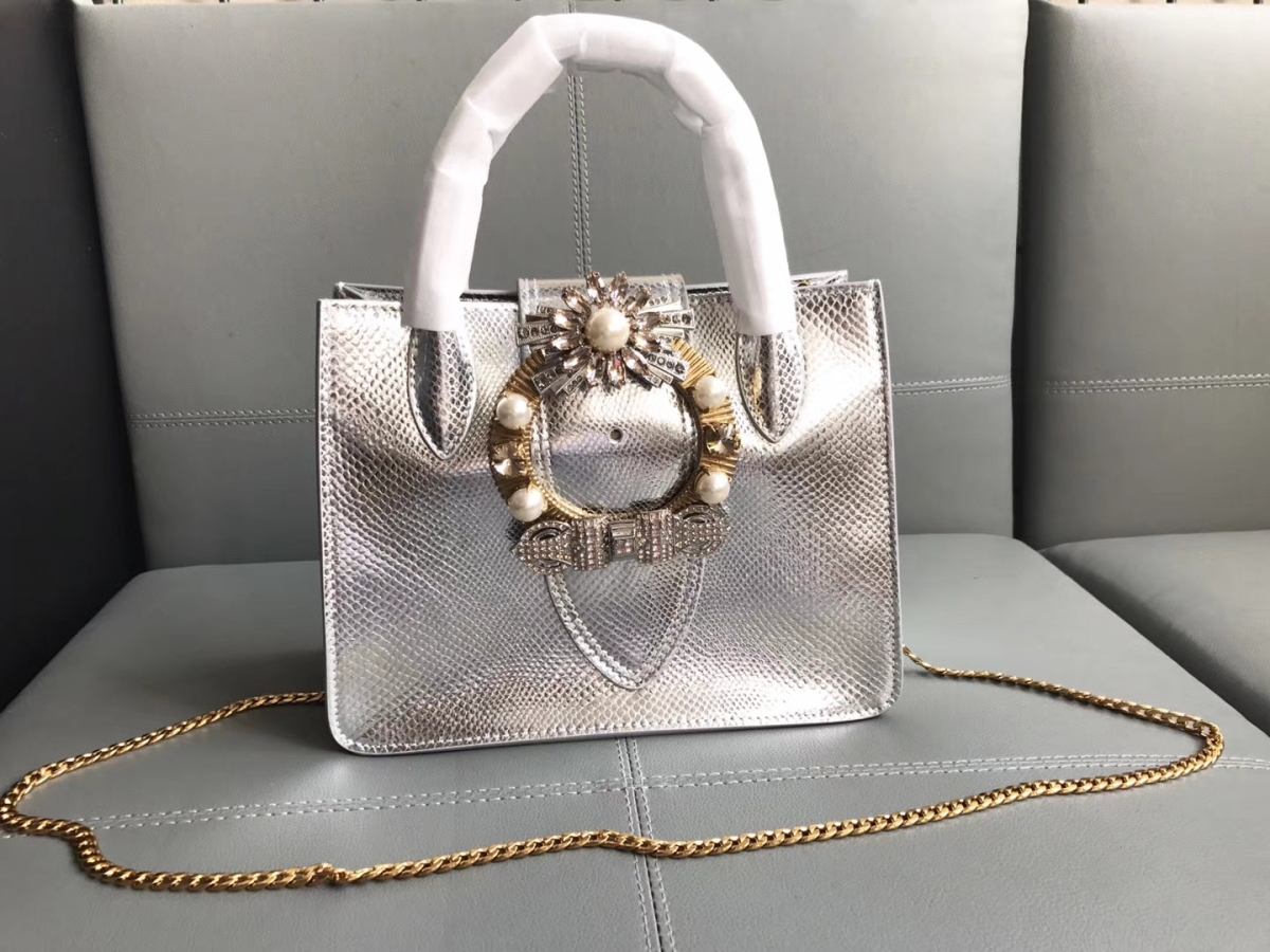 Miu Miu Goat Leather Top Handle Bag Black 5BA043 Silver