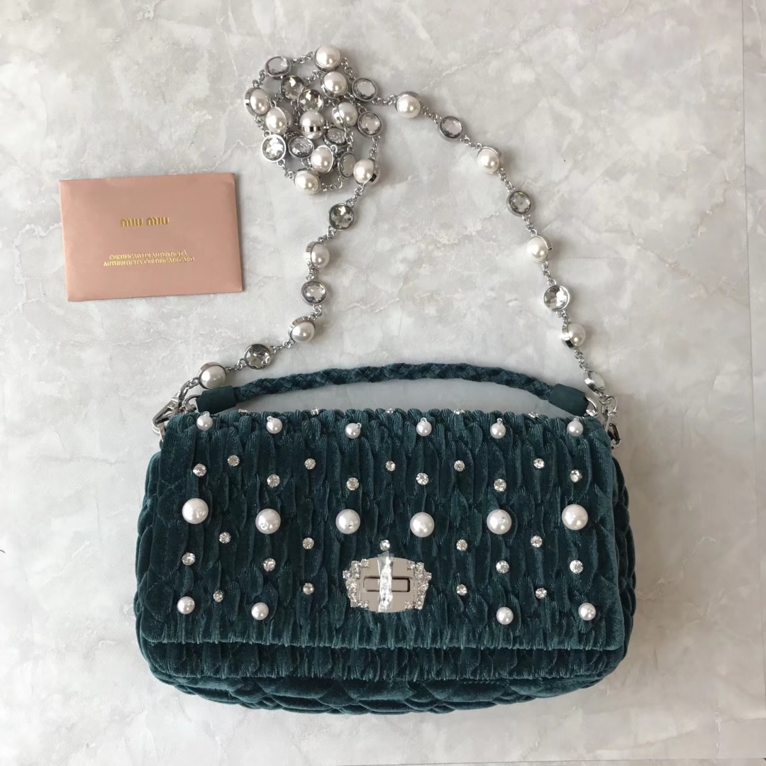 Miu Miu Crystal & Pearl Velvet Shoulder Bag 5BD417