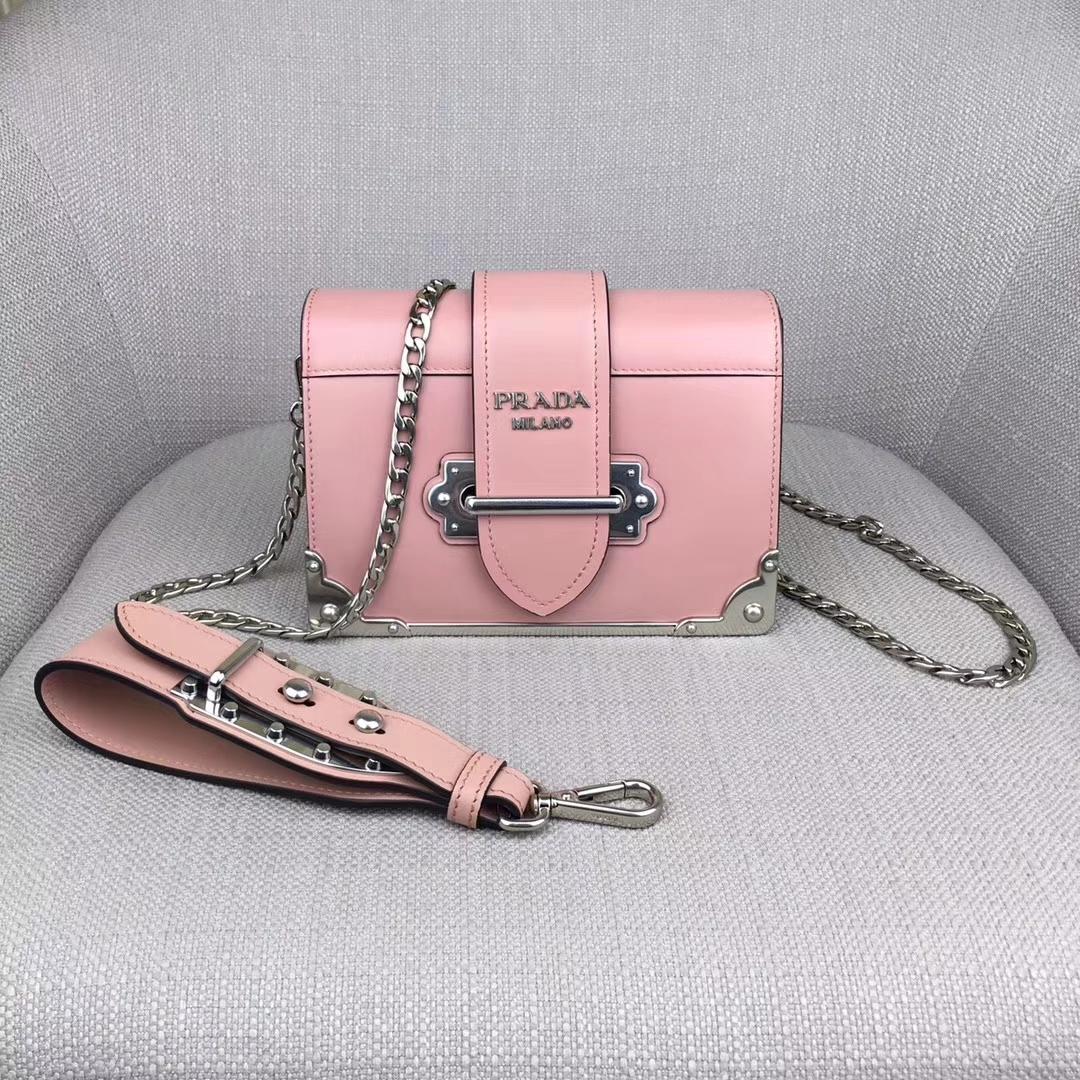Prada Cahier Small Leather Trunk Crossbody Bag1BH018