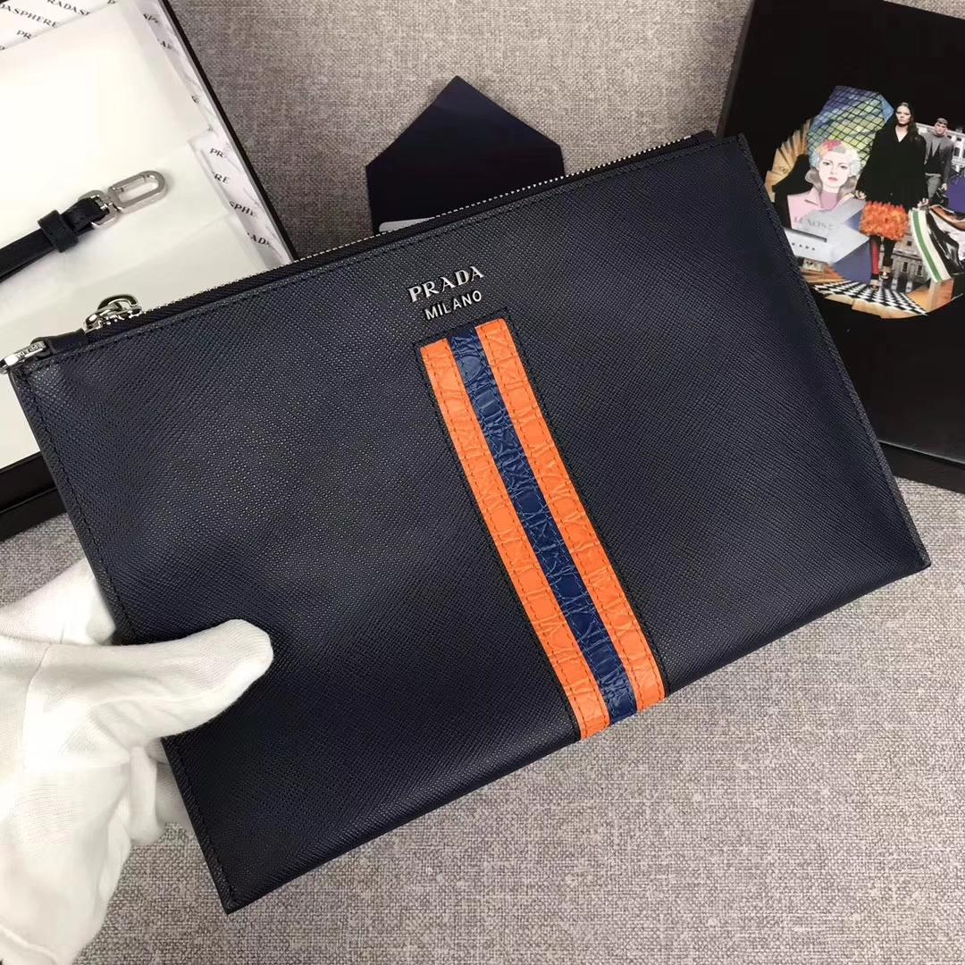Prada Ribbon Saffiano Leather Document Holder Clutch bag for men2NG005