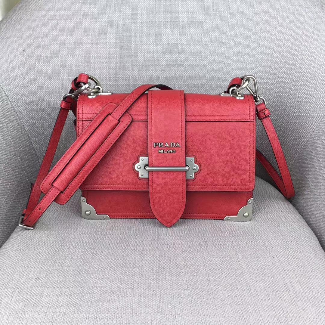 Prada Cahier Leather Shoulder Bag1BD095