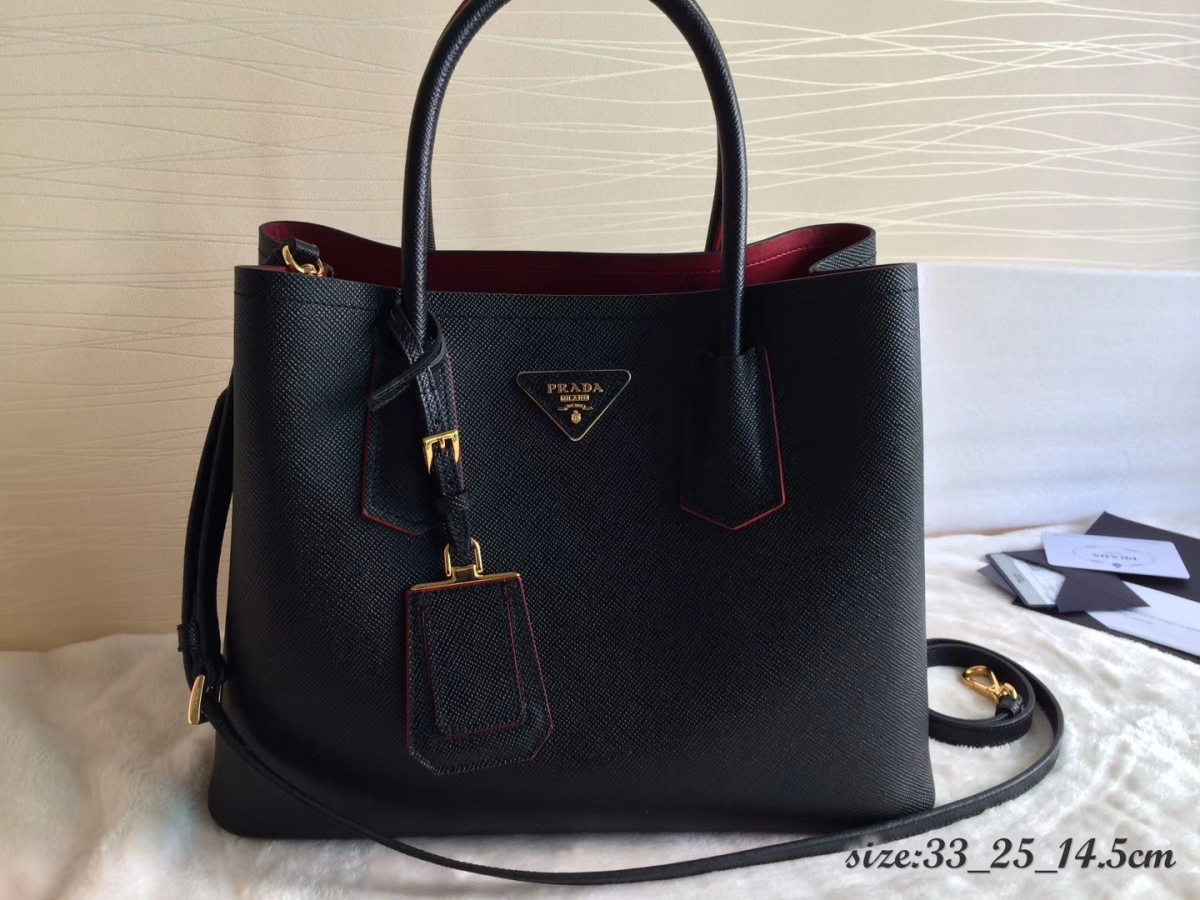 Prada Saffiano Cuir Double Medium Tote Bag 1BG775 Black and Red