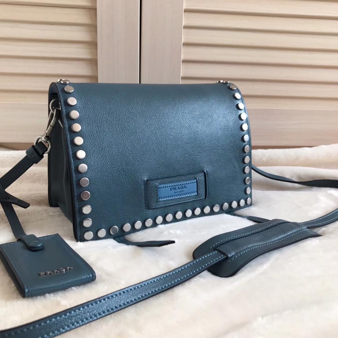 Prada Metal Stud Trim Etiquette Shoulder Bag1BD082