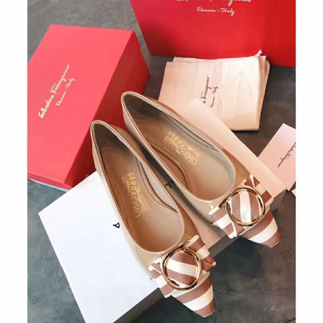 Salvatore Ferragamo patent leather 7cm heel pumps or flats sadals2018