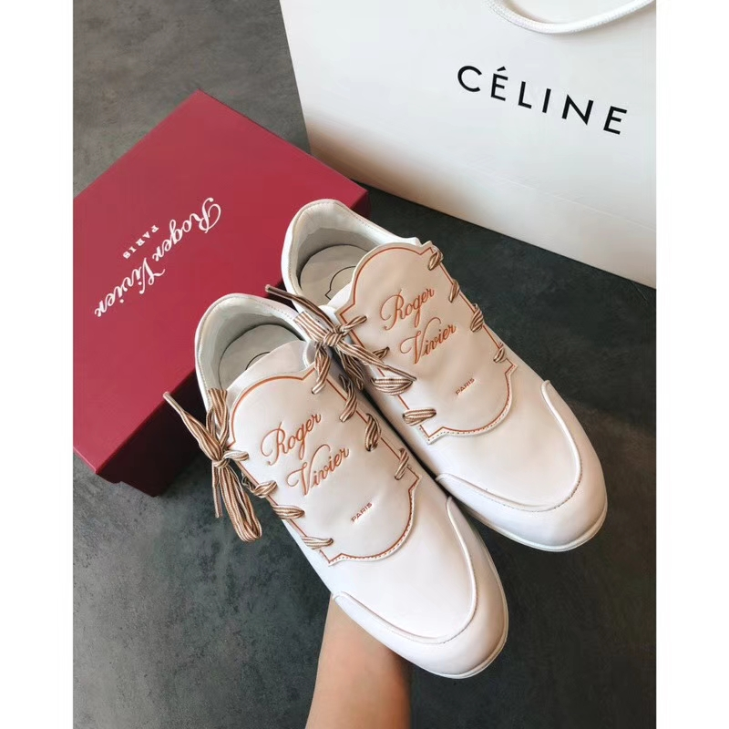 Roger Vivier calfskin leather bow lace-up sneakers 2018ss