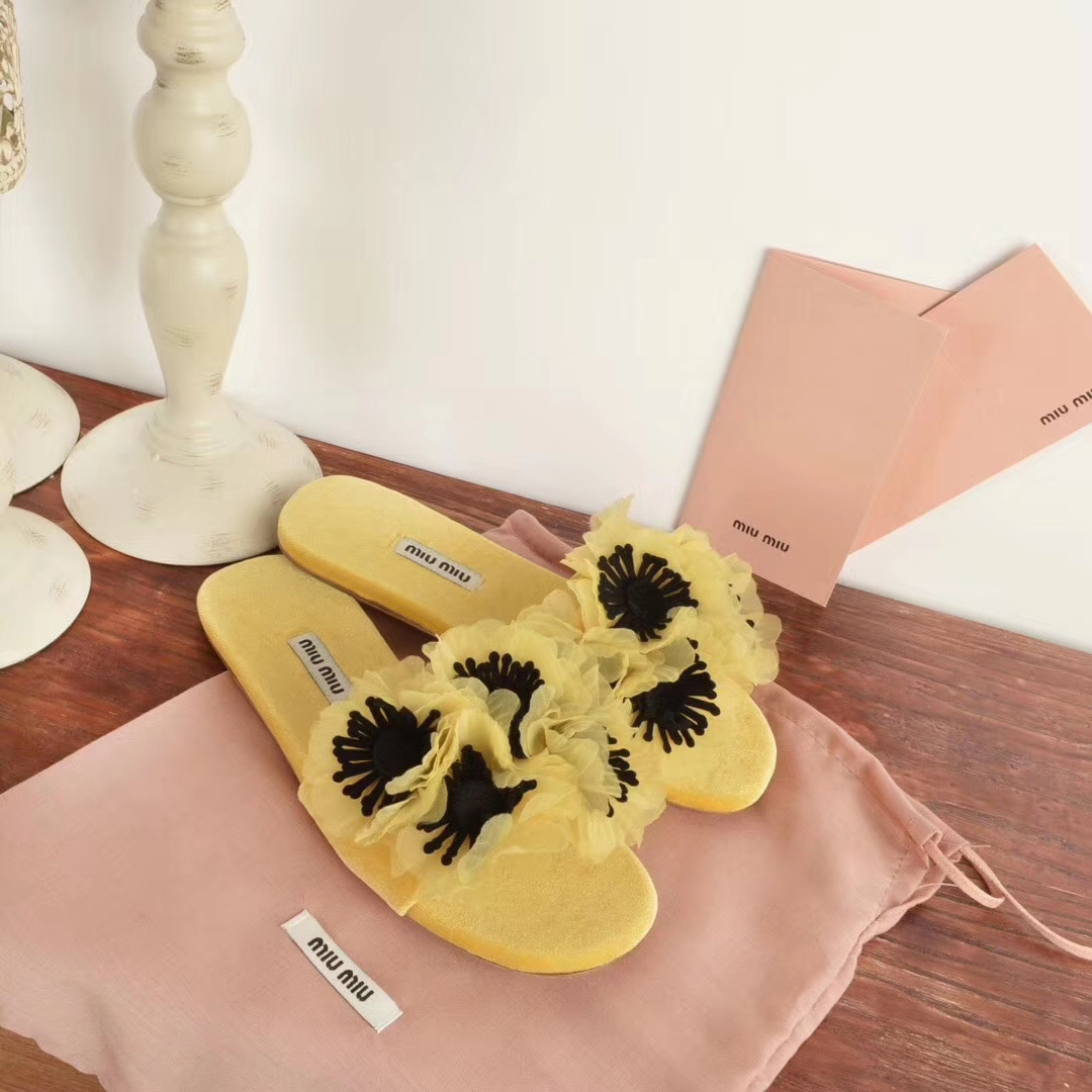 Miu Miu flower sandals slippers 2018ss