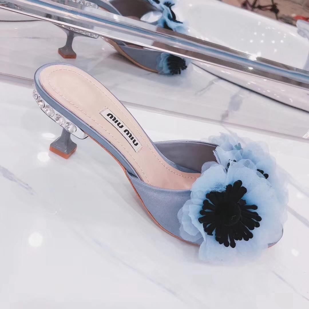 Miu Miu flower pumps sandals2018ss