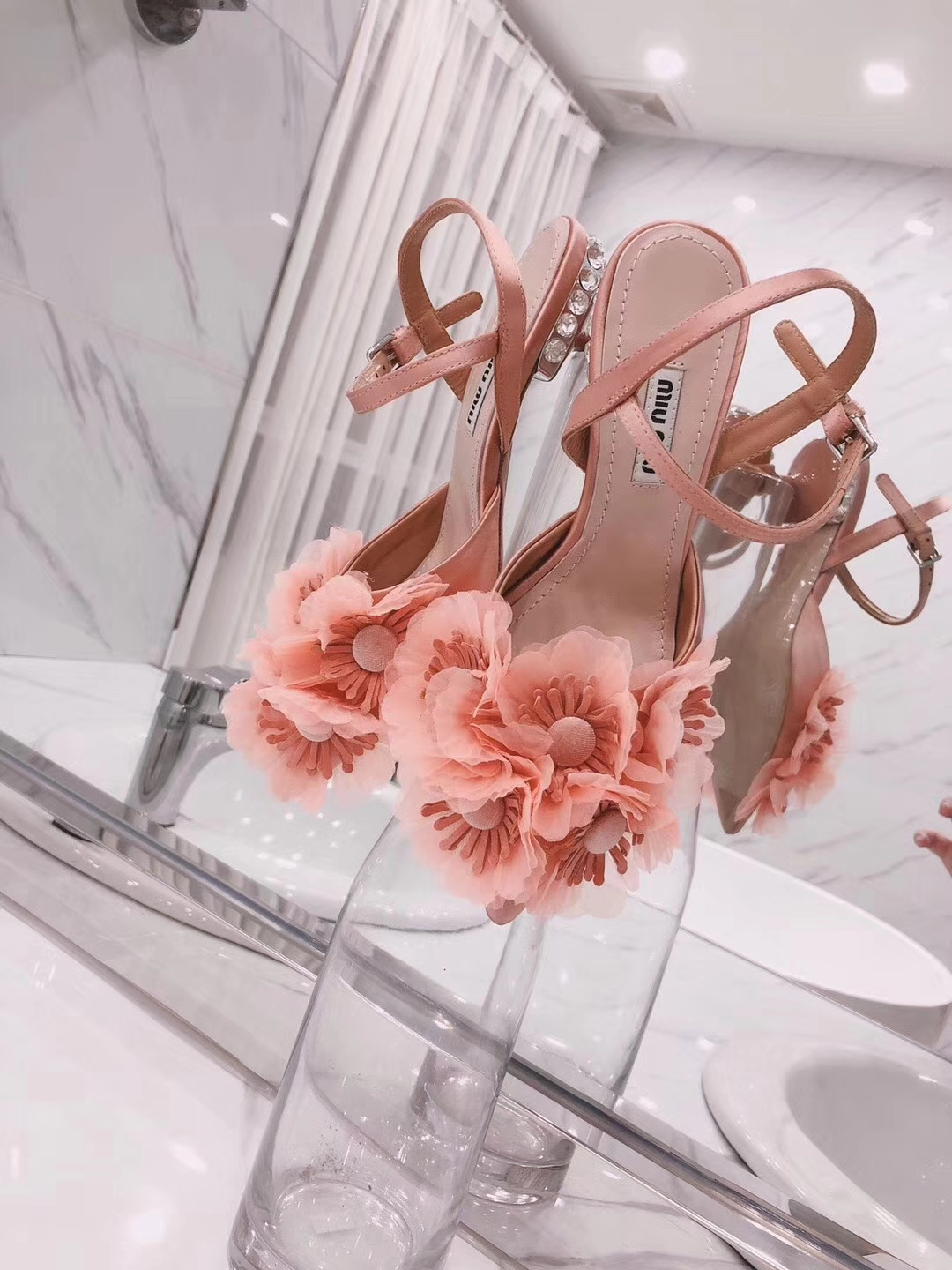 Miu Miu flower slingback pumps sandals 2018ss