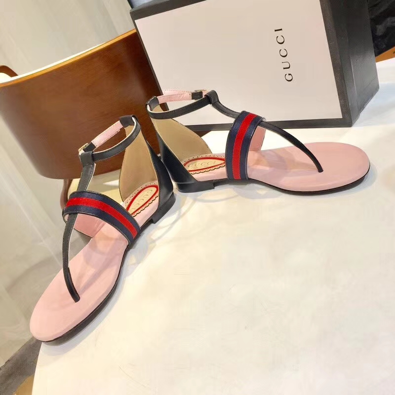 Gucci lambskin leather and web flats sandals 2018