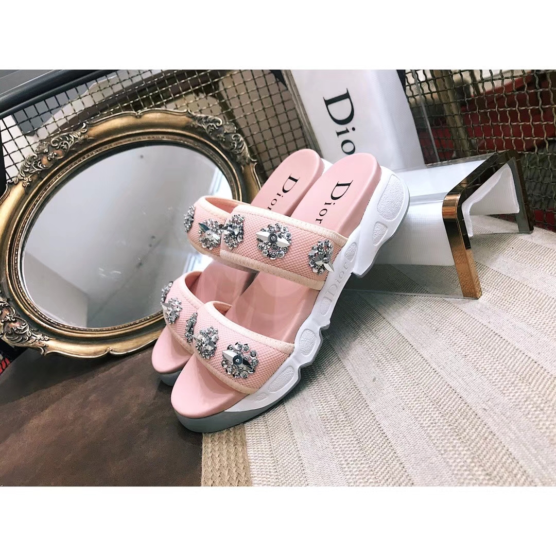 Dior fabric crystal slippers sandals 2018