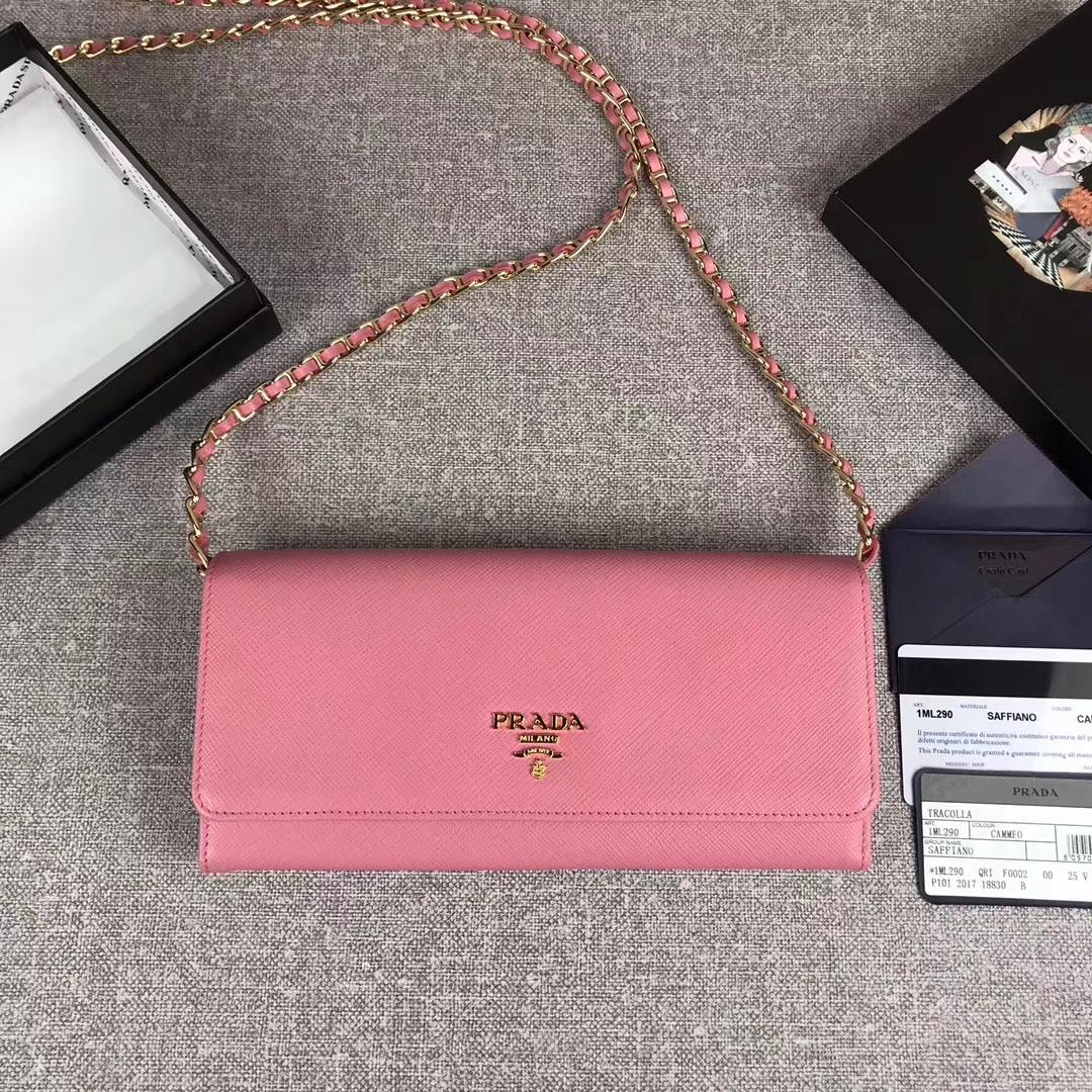 Prada saffiano leather wallet on chain clutch bag1M1290