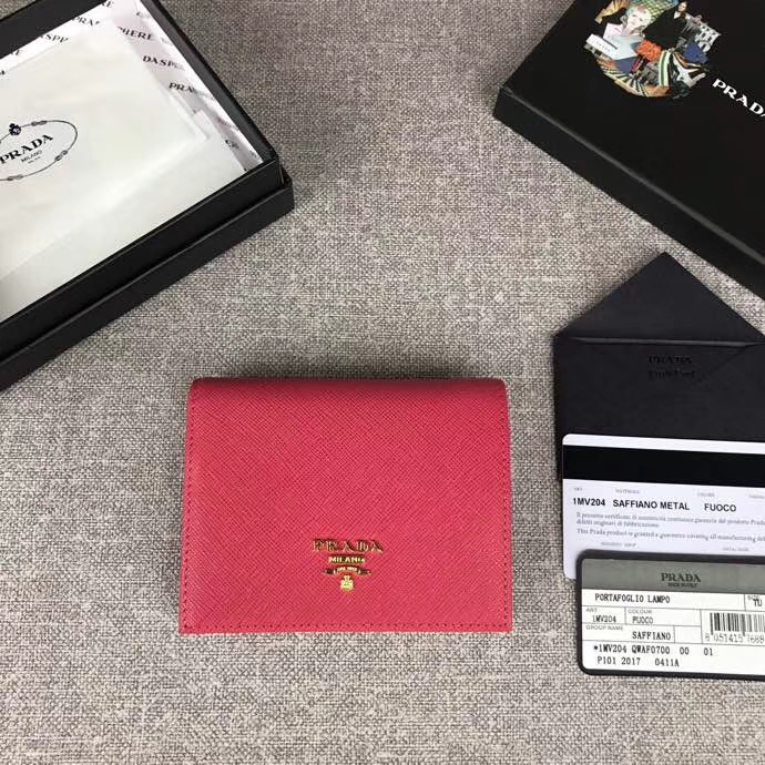 aa09af6ec60f ... new zealand prada saffiano leather short wallet card holder 1mv204  e1d85 1ba57