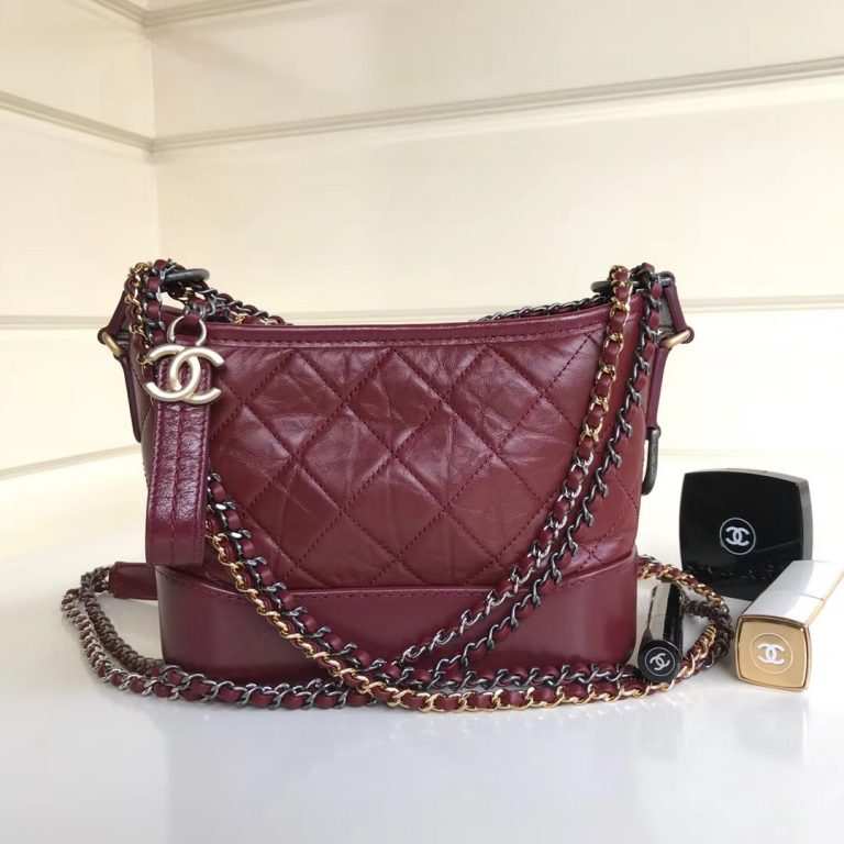 Chanel Gabrielle Medium/Small Hobo Bag Burgundy 2018