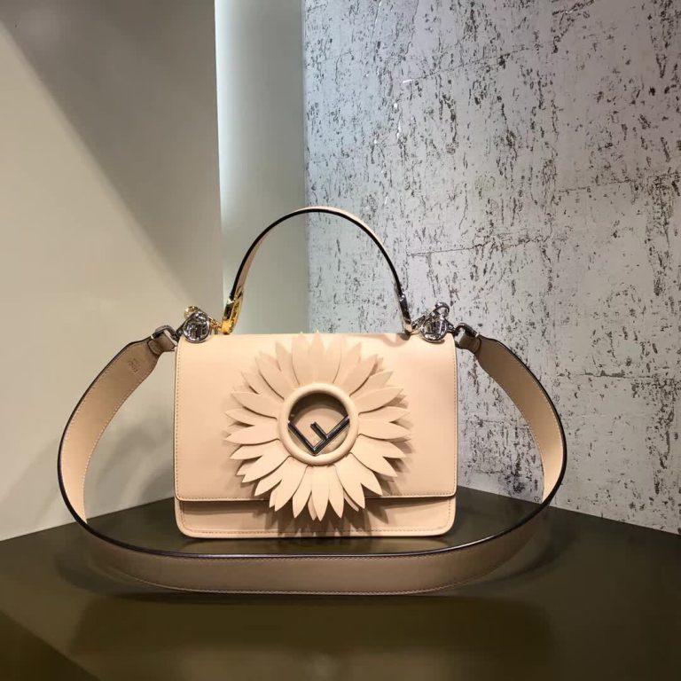 Fendi Kan I F Pattern Leather Shoulder Bag2017