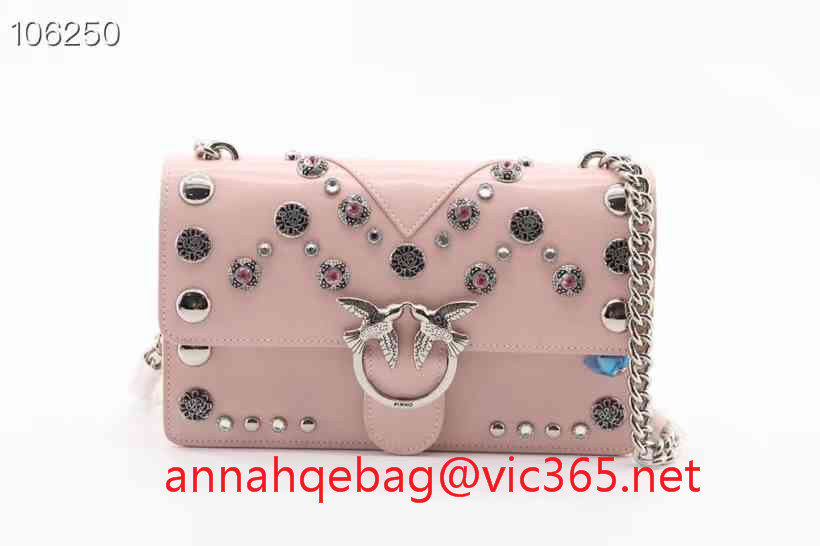 Pinko leather shoulder bag with diamonds