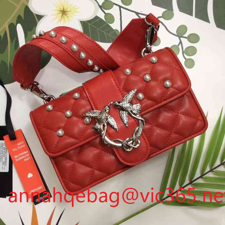 Pinko small lambskin leather shoulder bag with pearls red2018
