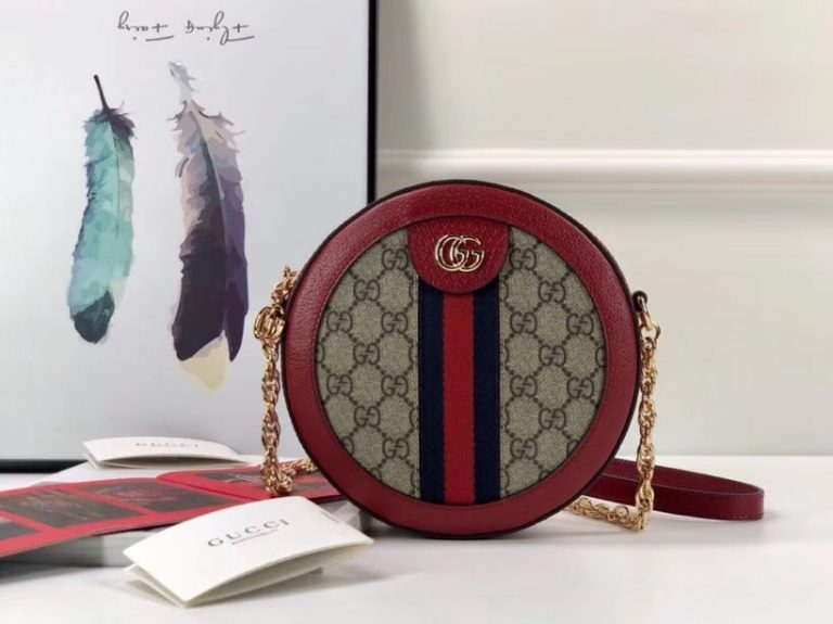 Gucci Ophidia Mini GG Canvas/Suede Round Shoulder Bag 550618 2018