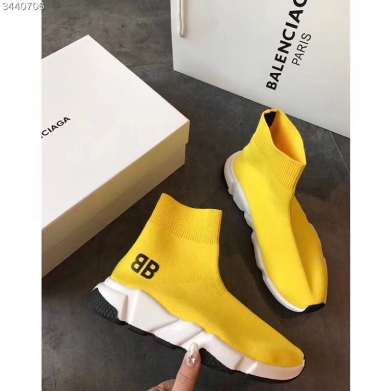 Balenciaga BB Logo/Remade Stripes Knit Sock Speed Sneaker Boots 2018